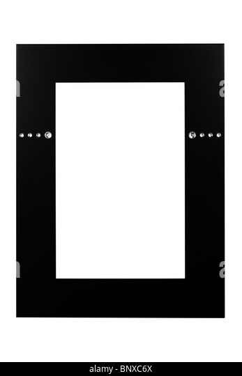 Black frame with stones isolated on white background - Stock-Bilder