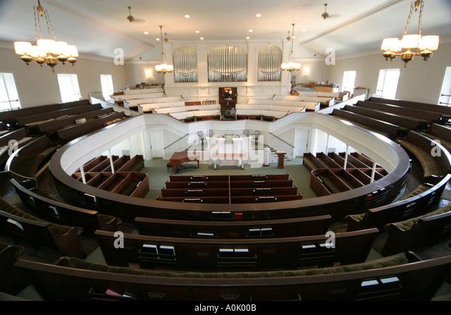 Ohio Oberlin First Church Anti Slavery Society seating pews altar organ - Stock Image