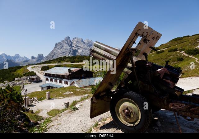 Monte Piana open-air First World War Museum, Tre Cime di Lavaredo, Belluno, Bozen, Dolomites, Italy, Europe - Stock Image