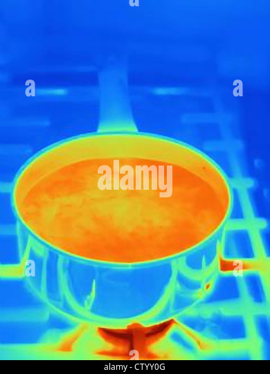 Thermal image of pot on stove - Stock Image