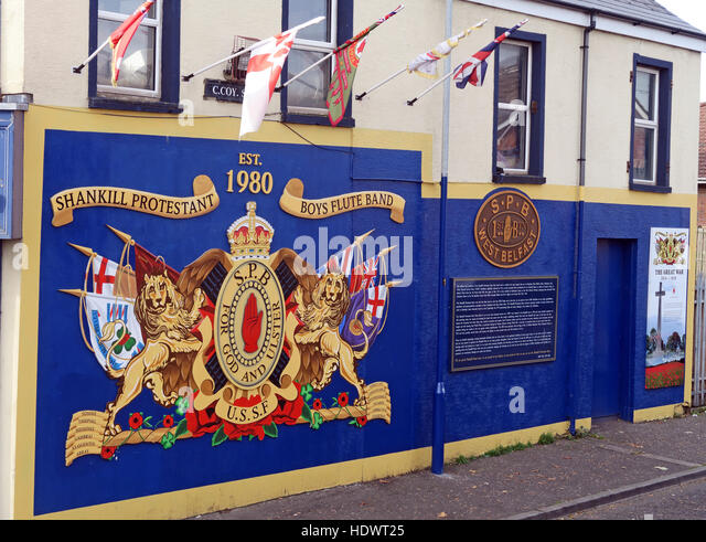 Shankill Protestant Boys Flute Band mural, off Shankill Road West Belfast,Northern Ireland,UK - Stock Image