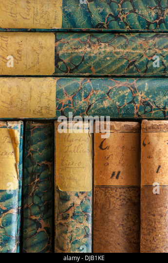 Spines of antiquarian books, written by Marcus Tullius Cicero - Stock-Bilder