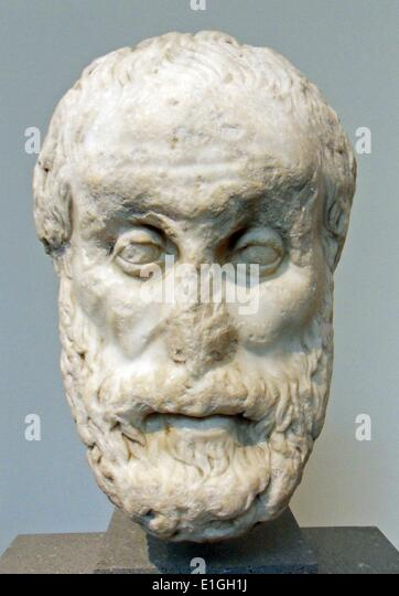Marble head of a philosopher, Roman, Imperial period, 1st or 2nd century. - Stock Image