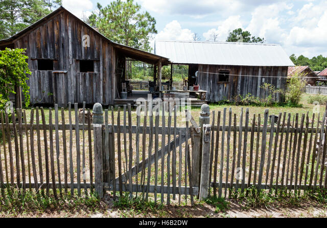 Florida Palm Coast Florida Agricultural Museum living history museum farm pioneer homestead restored picket fence - Stock Image