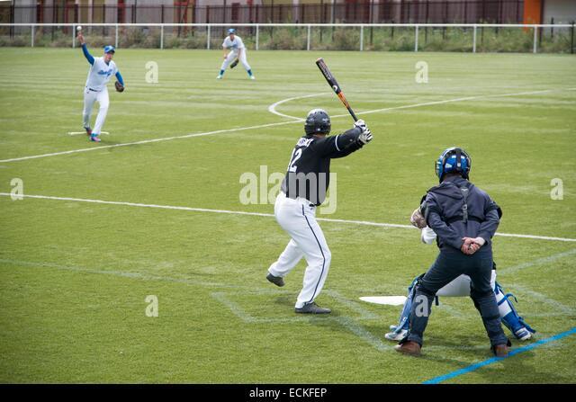 France, Seine Saint Denis, Tremblay en France, Tremblay en France, match of Baseball - Stock Image