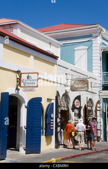 Stores on Main Street, Charlotte Amalie, St. Thomas Island, U.S. Virgin Islands, West Indies, Caribbean, Central - Stock Image