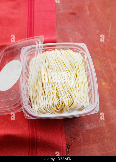 Package of fresh angel hair pasta - Stock Image