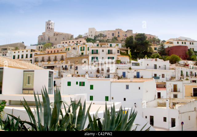 Ibiza white balearic island village dalt vila downtown architecture - Stock Image