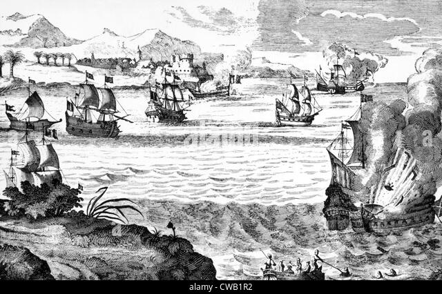 Destruction of the Spanish fleet on Lake Maracaibo in Venezuela by the English pirate Henry Morgan, April 30, 1669. - Stock Image