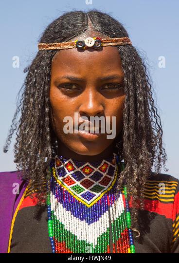 Borana tribe virgin girl during the Gada system ceremony, Oromia, Yabelo, Ethiopia - Stock-Bilder