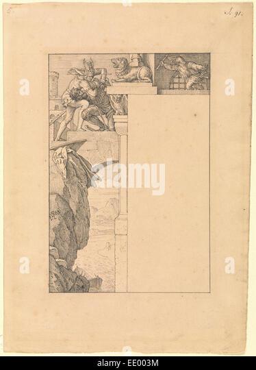 Siegfried Battles with the Gatekeeper as Alberich Approaches; Julius Schnorr von Carolsfeld, German, 1794 - 1872; - Stock Image