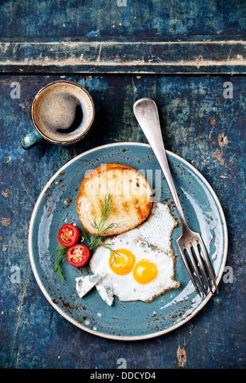 Traditional breakfast eggs with coffee - Stock-Bilder
