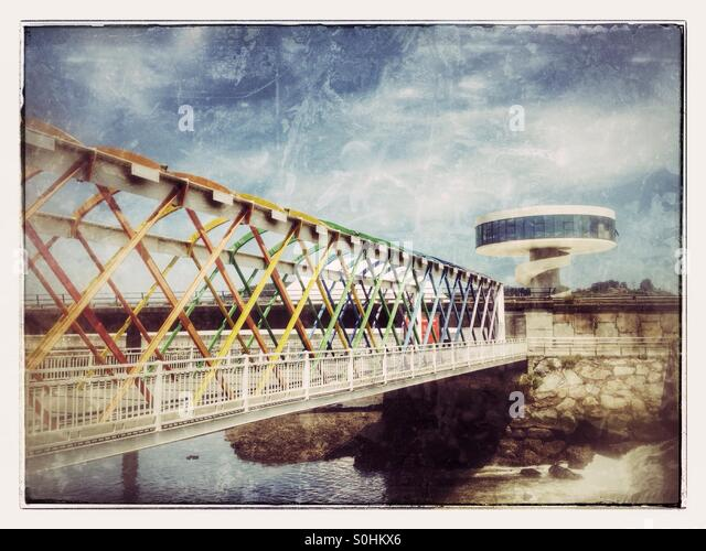 Bridge to Niemeyer Center in Aviles, Asturias - Spain - Stock Image
