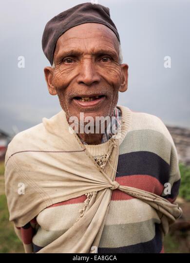 Elderly Gurung man, Nepal - Stock-Bilder