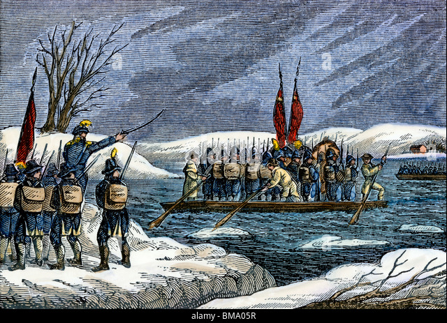 Continental Army crossing the Delaware River at night to attack Trenton, December 1776 - Stock Image