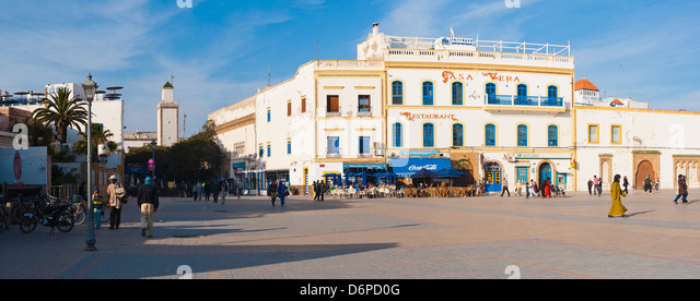 Panoramic photo of Moulay Assan Square, Essaouira, UNESCO World Heritage Site, on the coast of Morocco, North Africa, - Stock Image