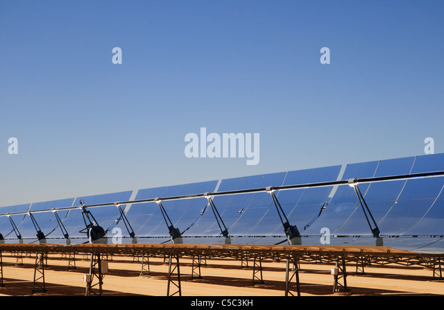 parabolic mirrors of the solar energy generating station (SEGS) thermal solar energy electric installation in the - Stock Image
