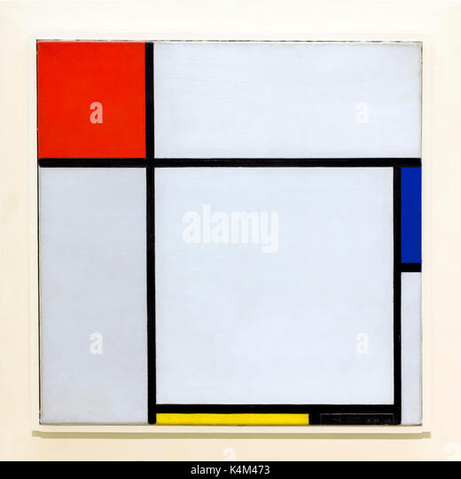 Composition, by Piet Mondrian, 1929, Solomon R. Guggenheim Museum, Manhattan, New York City, USA, North America - Stock Image