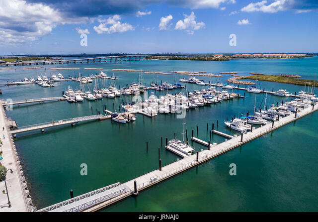 Florida Fort Ft Pierce City Marina Square Indian River aerial overhead view bird's eye above boats yachts - Stock Image