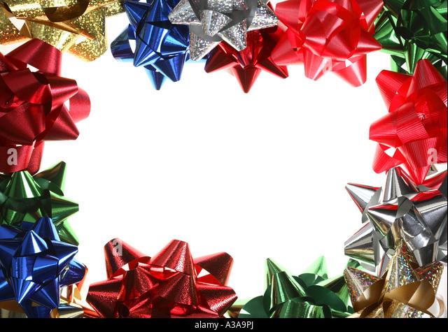Christmas border ribbon stock photos