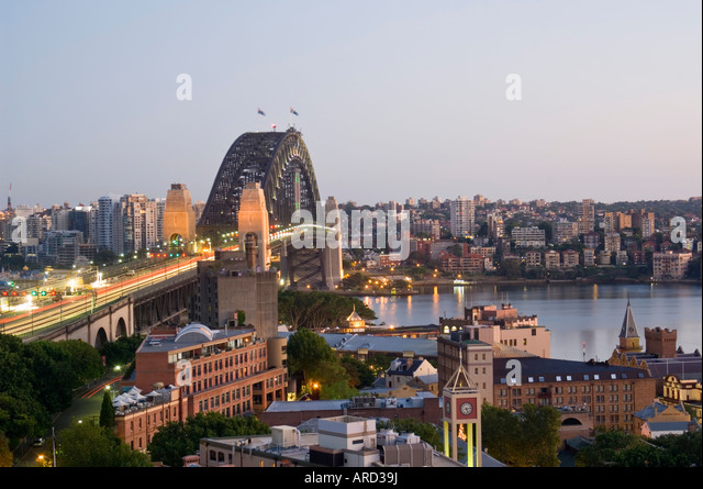 Sydney Harbour Bridge at dawn Sydney New South Wales Australia - Stock Image