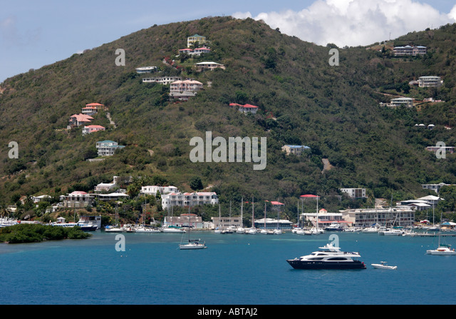 BVI Tortola Road Town Caribbean Sea Road Bay - Stock Image
