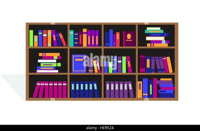 Large Bookcase with Different Books. Large bookcase with different books. Bookcase full of books cartoon. books - Stock-Bilder