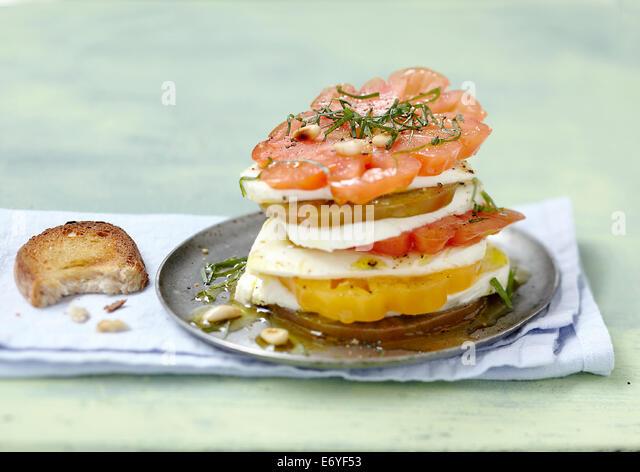 Traditional  tomato-mozzarella Mille-feuille - Stock Image