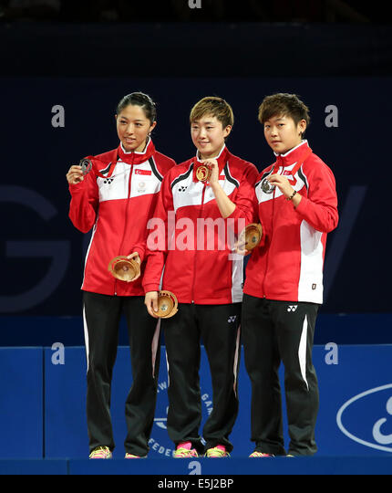 Glasgow, Scotland, UK. 1st Aug, 2014.  Evening singles Table Tennis action. Medal play off matches. Singapore clean - Stock Image