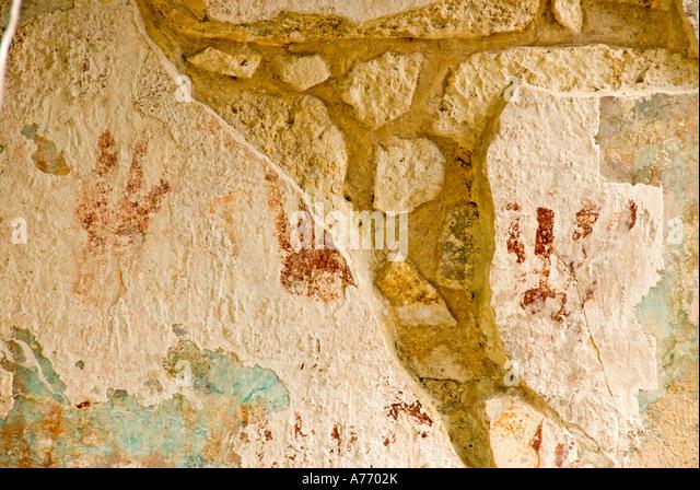 Mexico Cozumel San Gervasio Mayan maya  ruins red painted hands - Stock Image