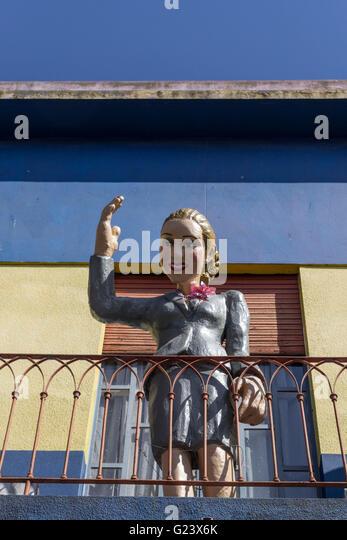 Evita Peron on balcony in La Boca, Buenos Aires, Argentina - Stock Image