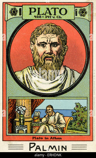 Plato - illustrated portrait. Greek philosopher, 428 - 347 AD. Scene representing him reading scroll in Athens. - Stock Image