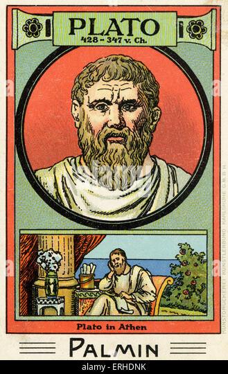 Plato - illustrated portrait. Greek philosopher, 428 - 347 AD. Scene representing him reading scroll in Athens. - Stock Image