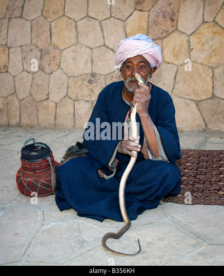 Old egyptian man snake charmer with cobra Egypt North Africa - Stock Image