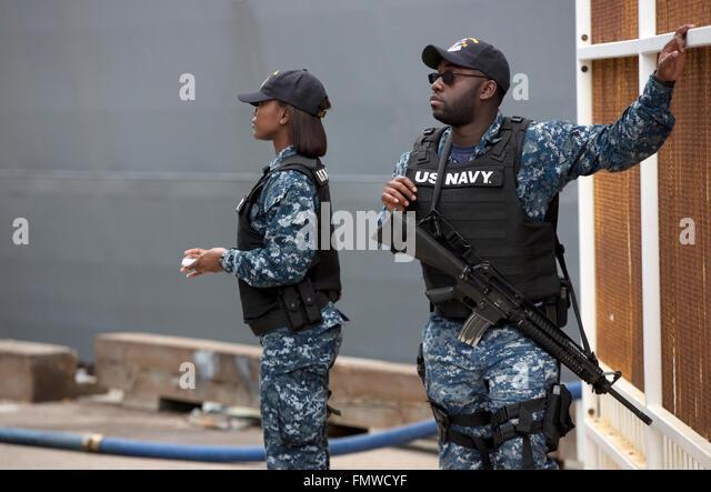 US Navy sailors security detail, San Diego California USA - Stock Image