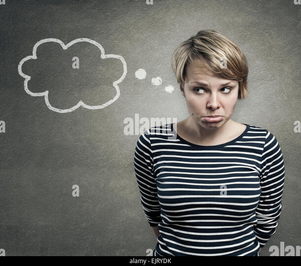 Illustration of a pretty woman thinking, with thought balloon - Stock Image