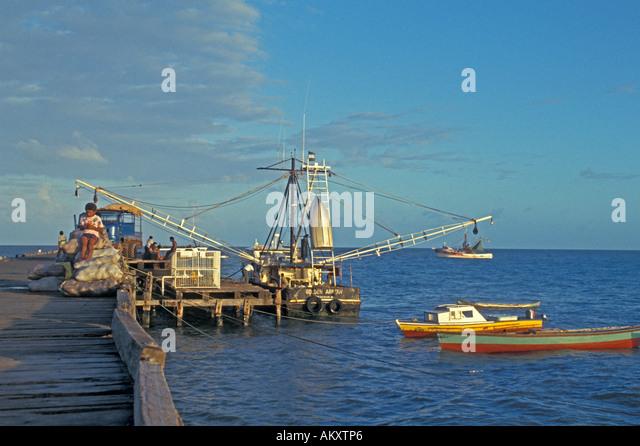 Nicaragua Miskito Coast mosquito indians Puerto Cabezas fishing boats at dock - Stock Image
