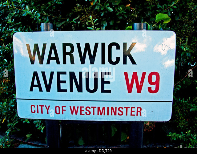 Warwick Avenue street sign, City of Westminster, London, England, United Kingdom - Stock Image