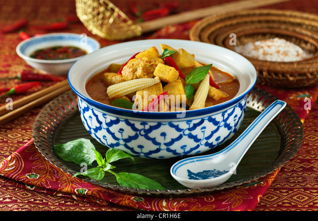 Thai yellow chicken curry Thailand Food - Stock Image