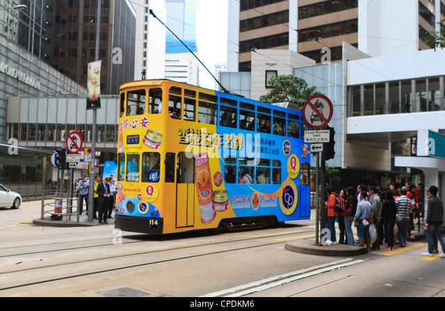 Tram in Central, Hong Kong Island, Hong Kong, China, Asia - Stock Image