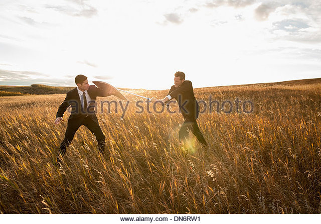 Businessmen fighting with sword and shield in field - Stock Image