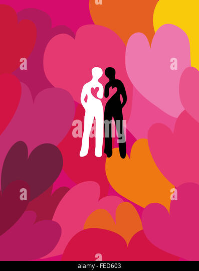 Loving friendship. Connected silhouettes of two people surrounded by hearts. - Stock Image