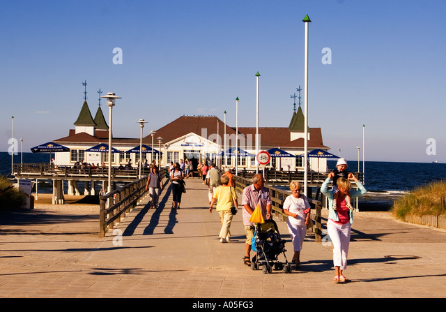 Usedom Ahlbeck art nouveau wooden pier - Stock Image