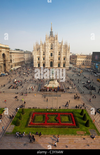 Italy, Europe, Milano, Milan, cathedral, dome, church, place, meadow, tourist - Stock Image