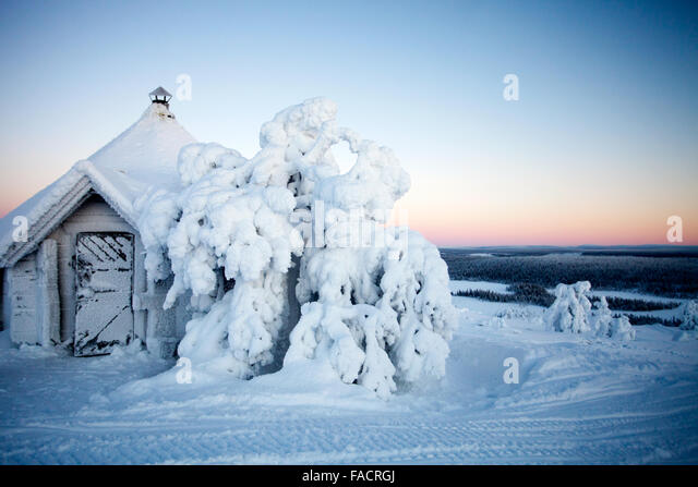 Cold winter in Lapland Finland - Stock Image