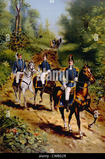 The War of 1812, U.S. general staff officers, lithograph published 1899 - Stock Image