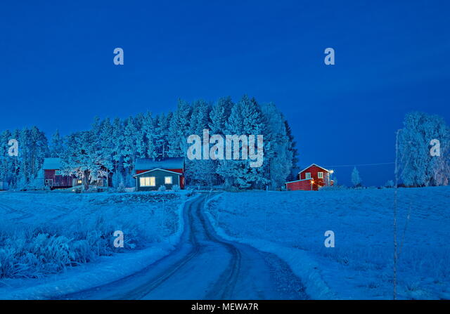 Hoarfrost covers a village at the blue hour on a cold winter day. Bredbyn, Västernorrlands Län, Sweden. - Stock Image