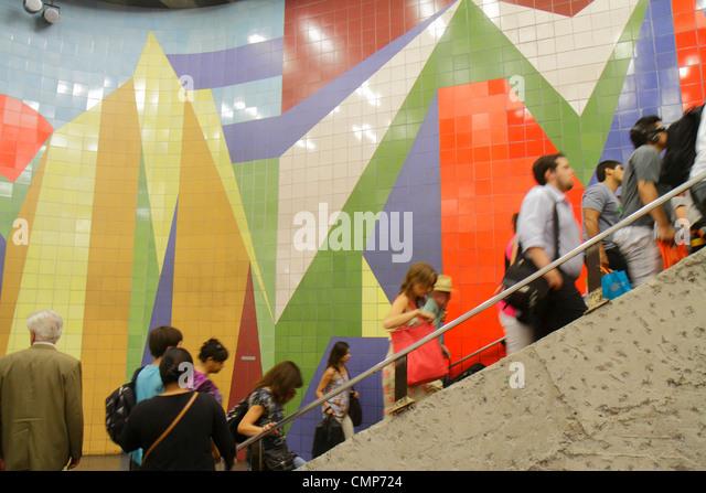 Santiago Chile Metro de Santiago subway station public transportation rapid transit Red Line stairs ascend up Hispanic - Stock Image