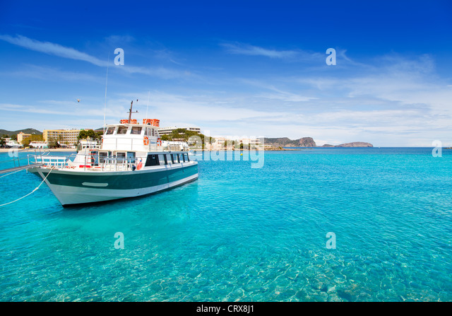 Ibiza Patja des Canar beach with turquoise water in Balearic islands - Stock Image