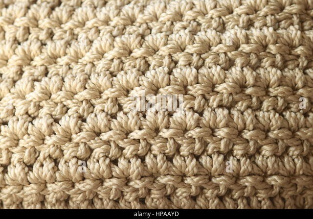 Close-up Neutral Color Double Crochet Stitch - Stock Image